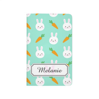 Cute Mint bunnies and carrots easter pattern Journal