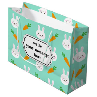Cute Mint bunnies and carrots easter pattern Large Gift Bag
