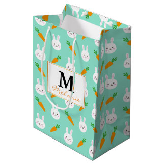 Cute Mint bunnies and carrots easter pattern Medium Gift Bag