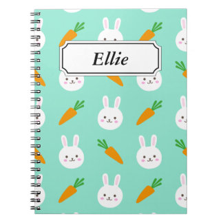 Cute Mint bunnies and carrots easter pattern Spiral Notebook