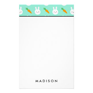 Cute Mint bunnies and carrots easter pattern Stationery