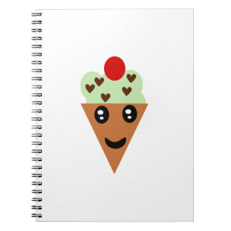 Cute Mint Chocolate Chip Ice Cream Notebook