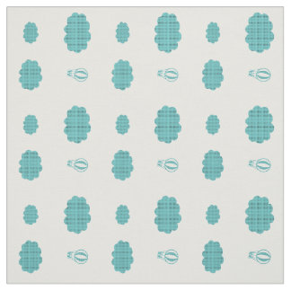 Cute Mint Flying High Balloon Pattern White Fabric