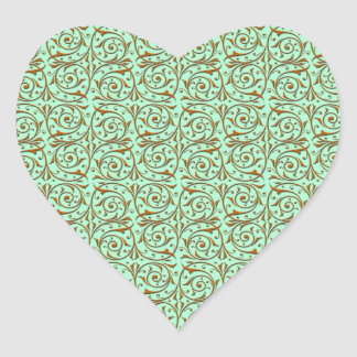 Cute Mint Green and Gold Swirly Vines Pattern Heart Sticker
