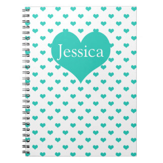 Cute Mint Green Hearts on White Girly Name Note Books