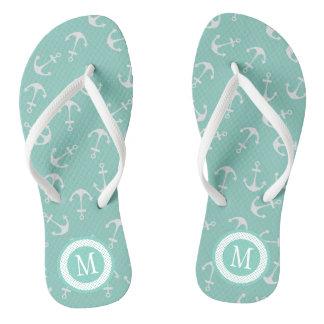 Cute Mint Green Nautical Monogram Thongs