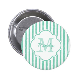 Cute Mint Green Painted Stripes Monogram and Name 6 Cm Round Badge