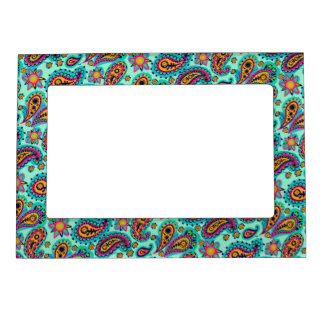 Cute Mint Green Pink Paisley Pattern Boho Picture Frame Magnets