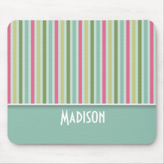 Cute Mint Green & Pink Stripes Mouse Pad