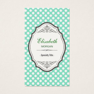 Cute Mint Green Polka Dots Elegant Vintage Frame Business Card