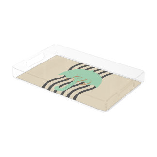 Cute Mint Green Umbrella Add Initials Tray