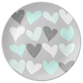 Cute mint grey love hearts plate