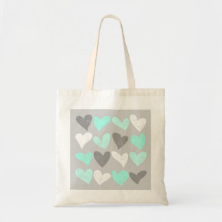 Cute mint grey love hearts tote bag
