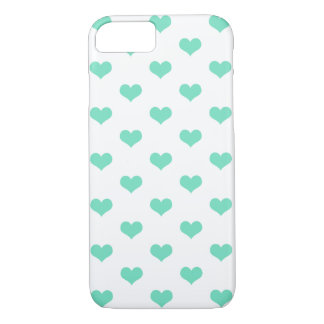 Cute Mint Hearts Pattern on White - iPhone 7 Case