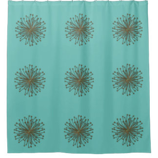 Cute mint trendy modern abstract dandelion shower curtain