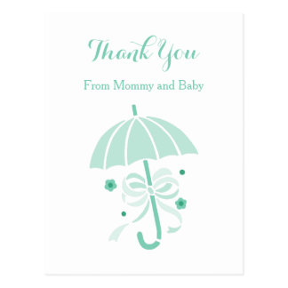 Cute Mint Umbrella and Bow Baby Shower Thank You Postcard