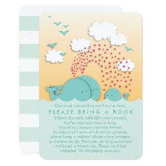 Cute Mint Whales Family Bring a Book Insert Card 9 Cm X 13 Cm Invitation Card