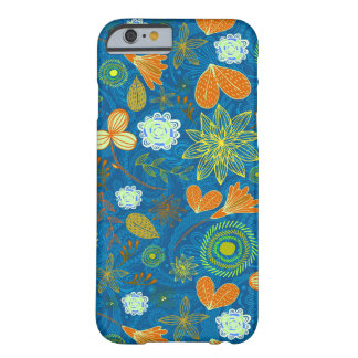 Cute mixed blue paisley colorful flowers patterns barely there iPhone 6 case