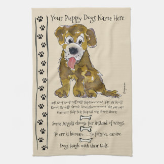 Cute Mixed Breed Cartoon Dog Quotes Kitchen Towel