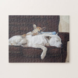 Cute mixed breed puppy and white dog sleeping art jigsaw puzzles