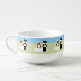 Cute mixed wedding couple soup mug