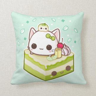 Cute mochi kitty with kawaii green tea cake cushion