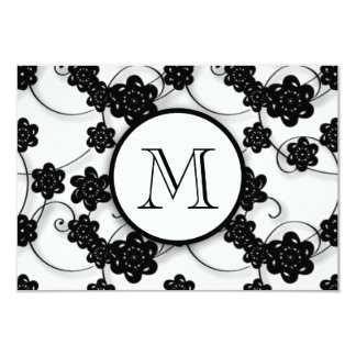 Cute Mod Black Flowers Pattern, Your Initial 3.5x5 Paper Invitation Card