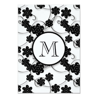 Cute Mod Black Flowers Pattern, Your Initial Custom Invitations