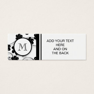 Cute Mod Black Flowers Pattern, Your Initial Mini Business Card