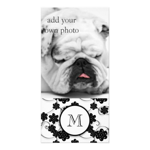 Cute Mod Black Flowers Pattern, Your Initial Photo Card Template