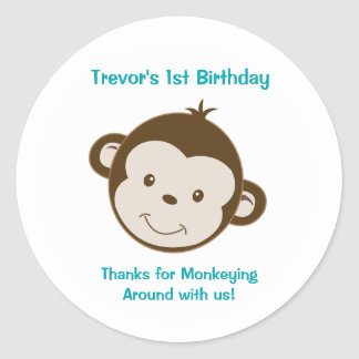 Cute Mod Monkey Custom Birthday Favor Stickers