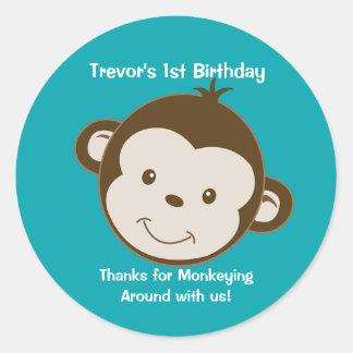 Cute Mod Monkey Custom Birthday Favor Stickers #2