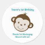 Cute Mod Monkey Custom Birthday Favour Stickers
