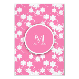 Cute Mod Pink Flowers Pattern, Your Initial Announcement