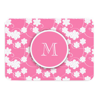 Cute Mod Pink Flowers Pattern, Your Initial 3.5x5 Paper Invitation Card