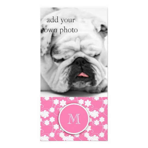 Cute Mod Pink Flowers Pattern, Your Initial Custom Photo Card