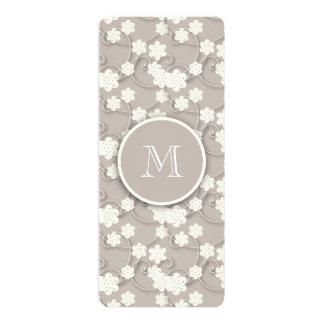 Cute Mod Tan Flowers Pattern, Your Initial 10 Cm X 24 Cm Invitation Card