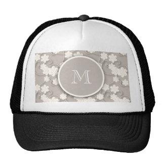 Cute Mod Tan Flowers Pattern, Your Initial Trucker Hat
