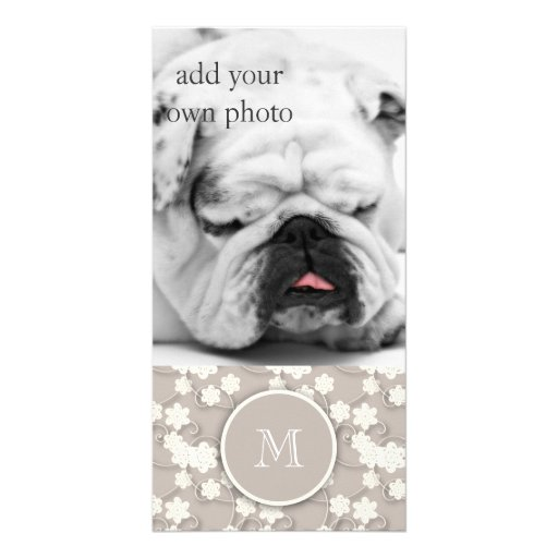 Cute Mod Tan Flowers Pattern, Your Initial Photo Cards
