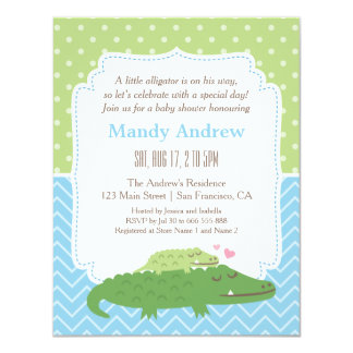 Cute Modern Alligator Baby Shower Party Card