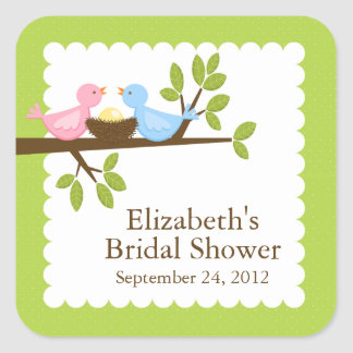 Cute & Modern Bird Nest Neutral Baby Shower Square Sticker