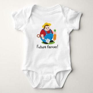 Cute modern cartoon of a proud farmer, baby bodysuit