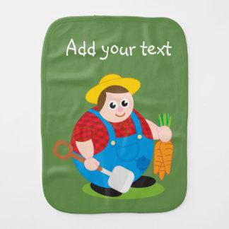 Cute modern cartoon of a proud farmer, burp cloth