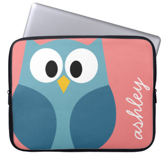 Cute Modern Cartoon Owl with huge eyes Laptop Sleeve