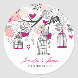 Cute modern DIY birdcage wedding favor favors seal
