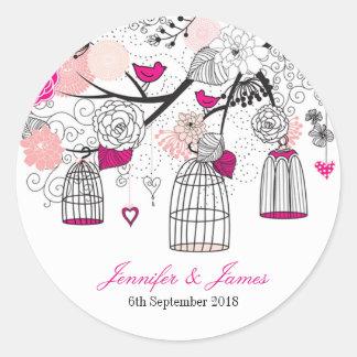 Cute modern DIY birdcage wedding favor favors seal Round Sticker