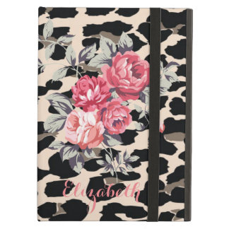 Cute  Modern Flowers On Leopard Print-Personalized Cover For iPad Air