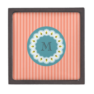 Cute modern girly cartoon bees monogram premium trinket boxes