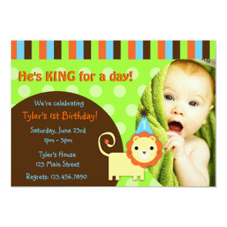 Cute Modern Lion Birthday Invite
