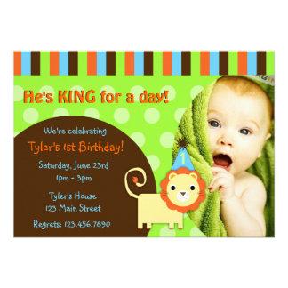 Cute Modern Lion Birthday Invite